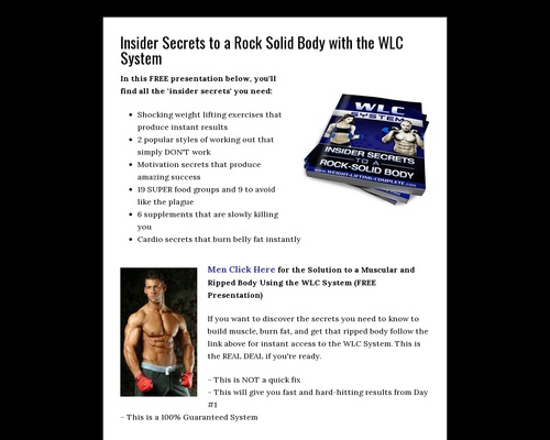 Insider Secrets to a Rock Solid Body with the WLC System - Weight Lifting Complete