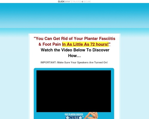 Get 100% Commissions ~ New Fast Plantar Fasciitis Cure ~ $102/sale!