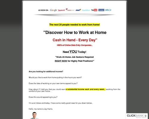 Work at Home Sites - Over 2,500 Companies Listed!