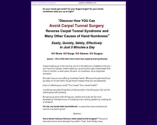 Carpal Tunnel Remedy - Carpal Tunnel Master, Self-Help for Hands