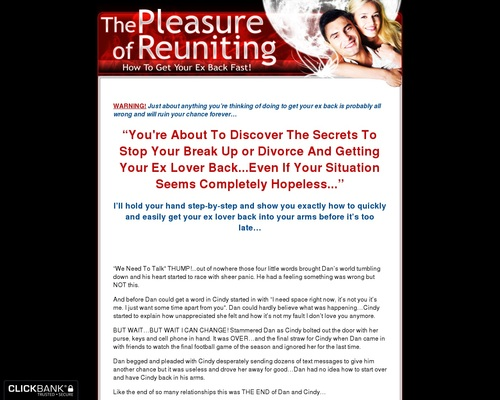 Pleasure Of Reuniting - How To Get Your Ex Back - Relationship Advice - Break Up Advice