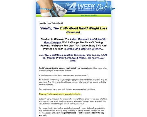 4 Week Diet - 4 Week Diet | Lose Weight Fast and Easy | Weight Loss